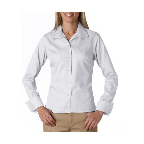 8992 UltraClub® Ladies' Whisper Elite Twill Blend Woven Shirt  - 8992-White