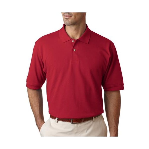 99299 Izod Men's Classic Silk-Washed Cotton Pique Polo  - 99299-Real Red