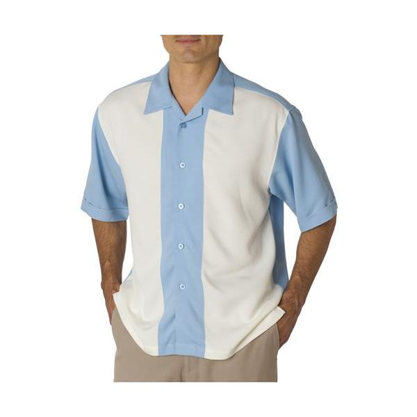 C03 Cubavera Adult Blended Pieced Bedford Cord Camp Shirt  - C03-Blue/ Ivory