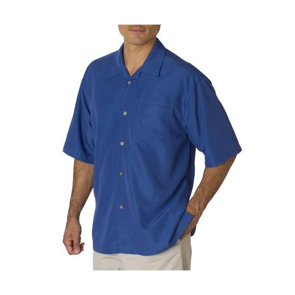 C5402 Cubavera Men's Blended Shadow Box Camp Shirt  - C5402-Maconda Blue