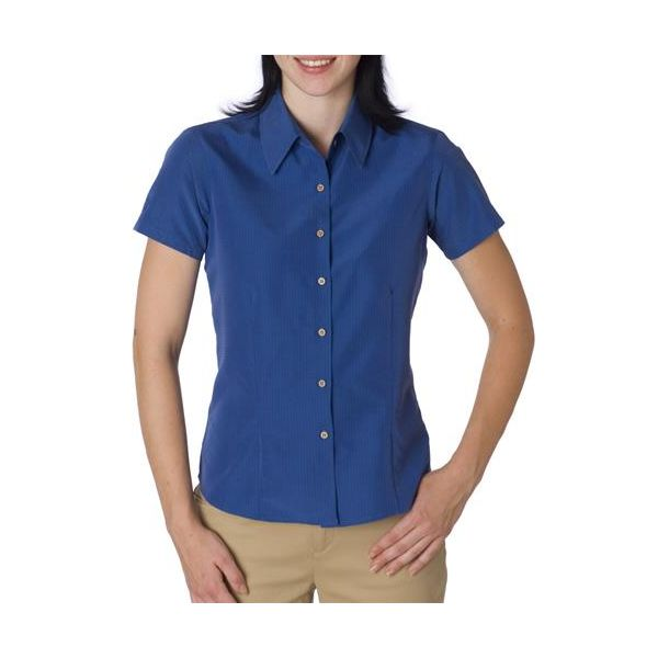 C98 Cubavera Ladies' Blended Shadow Box Camp Shirt  - C98-Maconda Blue