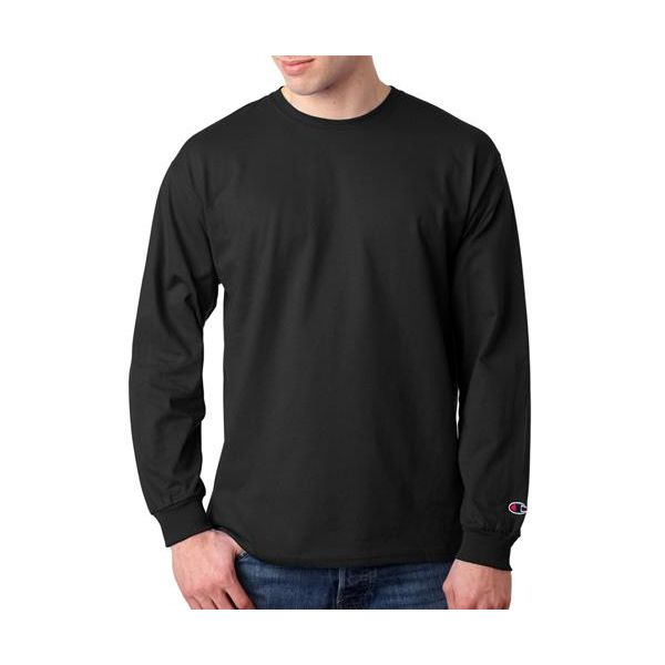 CC8C Champion Adult Tagless Long-Sleeve Cotton T-Shirt  - CC8C-Black