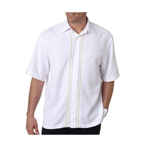 CM600 Cubavera Adult Blended Vero Camp Shirt  - CM600-Bright White/ Papyrus