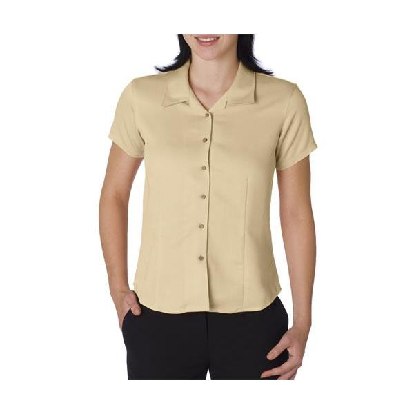 CW407 Cubavera Ladies' Blended Bedford Cord Camp Shirt  - CW407-Clay