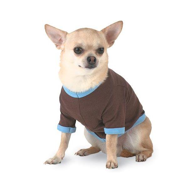 D3900 Doggie Skins Baby Rib Ringer Tee  - D3900-Brown/ Light Blue