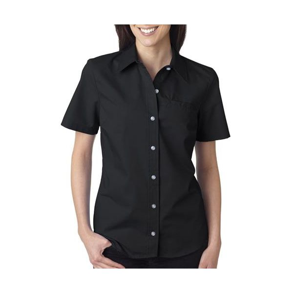FS038 Dickies Ladies' Short-Sleeve Stretch Poplin Shirt  - FS038-Black