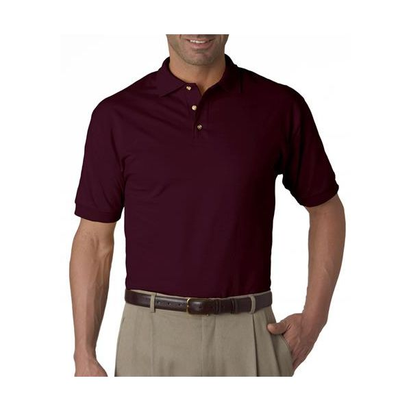 J100 Jerzees Adult Cotton Jersey Polo  - J100-Maroon