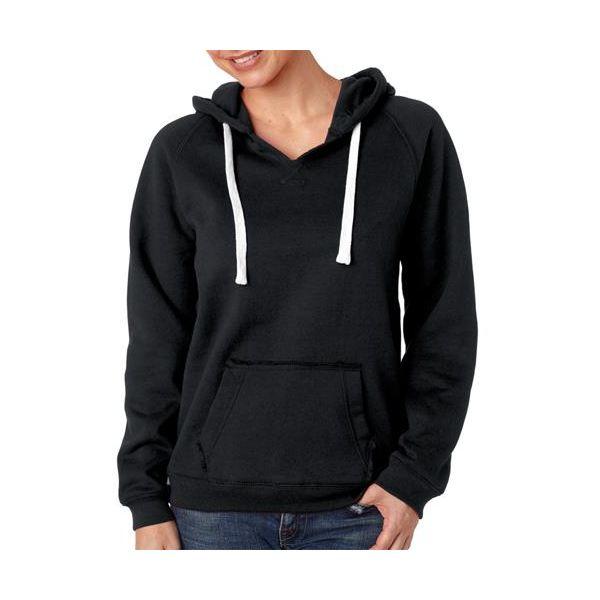 J8836 J-America Ladies' Brushed V-Neck Blend Hooded Fleece  - J8836-Black