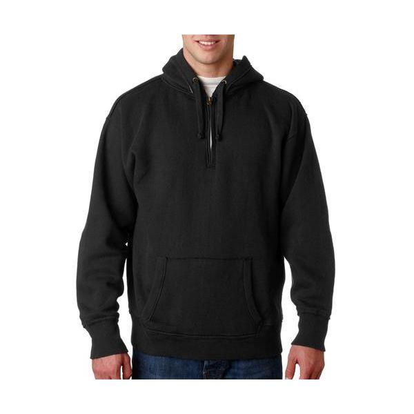 J8893 J-America Adult Vintage Plaid-Lined 1/4-Zip Hooded Blend Fleece  - J8893-Black