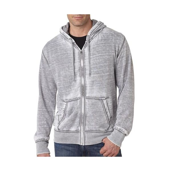 J8916 J-America Adult Vintage Zen Full-Zip Hooded 50/50 Burnout Fleece  - J8916-Cement