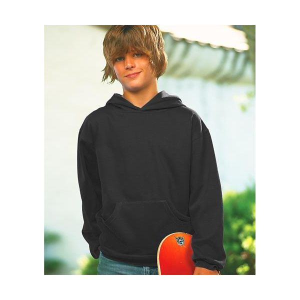 L2296 LAT Youth Fleece Hooded Pullover Sweatshirt with Pouch Pocket  - L2296-Black