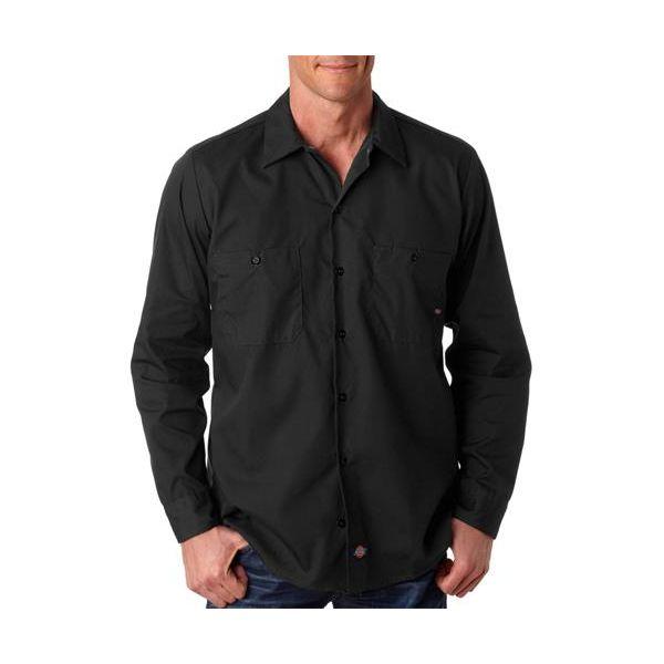 LL535 Dickies Men's Long-Sleeve Industrial Poplin Work Shirt  - LL535-Black