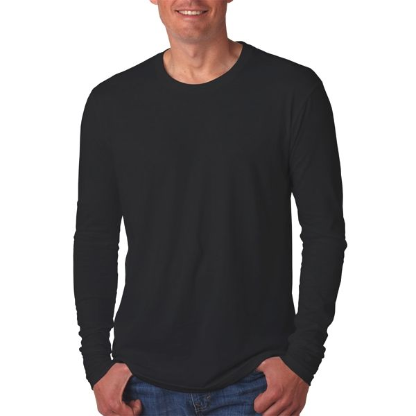 N3601 Next Level Men's Long-Sleeve Cotton Crew  - N3601-Black