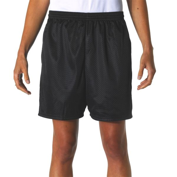 """N5294 A4 Adult 5"""" Lined Tricot Mesh Shorts"""