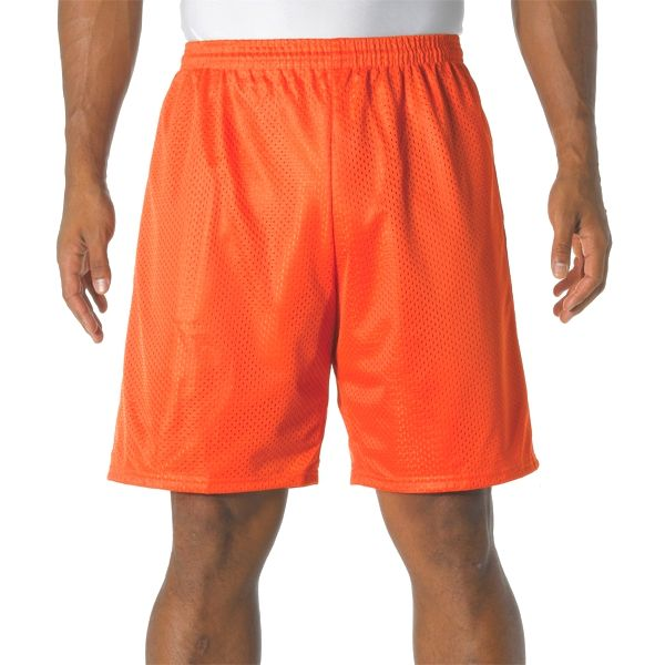 """N5296 A4 Adult 9"""" Lined Tricot Mesh Shorts"""