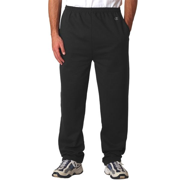P800 Champion Adult 50/50 Open-Bottom Sweatpants with Pockets  - P800-Black