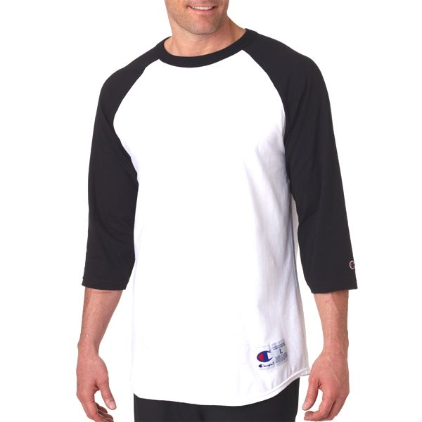 T137 Champion Adult Cotton Raglan Baseball T-Shirt  - T137-White/ Black