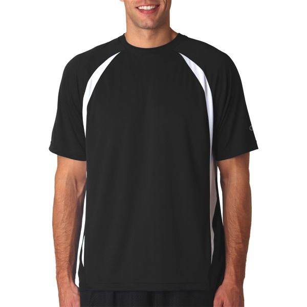 T252 Champion Adult Double Dry ElevationTM Polyester T-Shirt  - T252-Black/ White