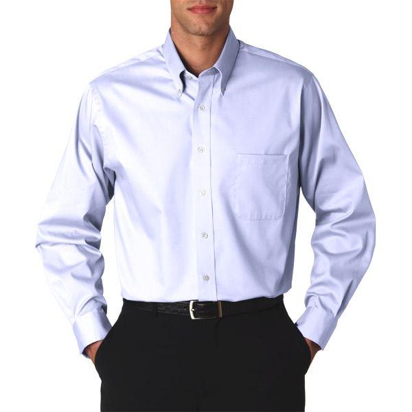 V0067 Van Heusen Men's Long-Sleeve Blended Pinpoint Oxford  - V0067-Blue