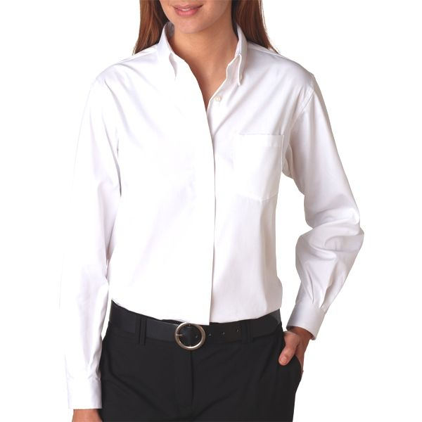 V0110 Van Heusen Ladies' Long-Sleeve Blended Pinpoint Oxford  - V0110-White