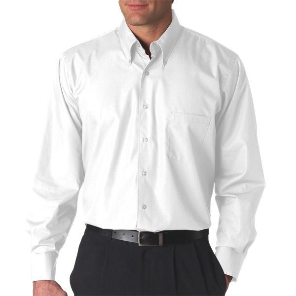 V0113 Van Heusen Men's Long-Sleeve Silky Poplin  - V0113-White