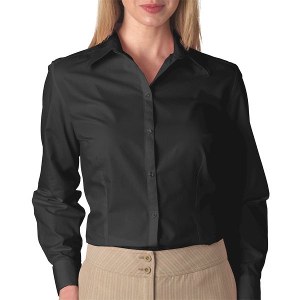 V0114 Van Heusen Ladies' Long-Sleeve Silky Poplin  - V0114-Black
