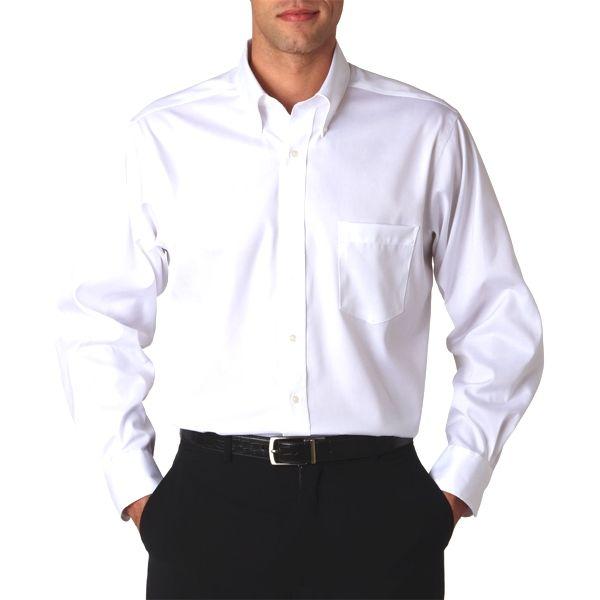V0143 Van Heusen Men's Long-Sleeve Non-Iron Pinpoint Oxford  - V0143-White