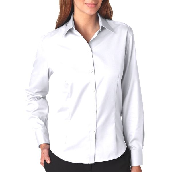 V0144 Van Heusen Ladies' Long-Sleeve Non-Iron Pinpoint Oxford  - V0144-White