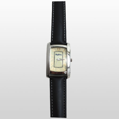 Silver Rectangle Shaped Case withBlack Padded Leather Band