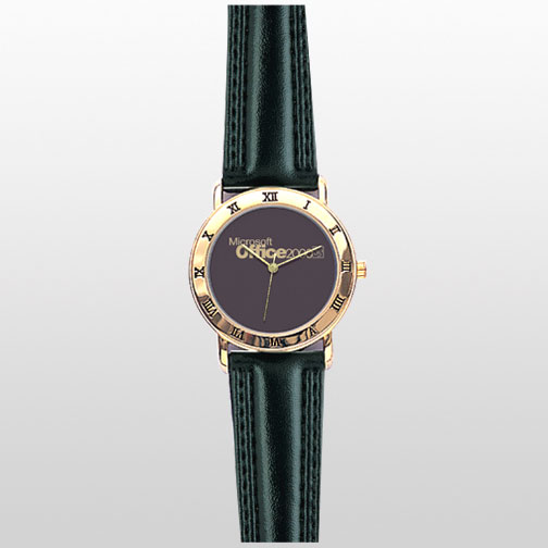 Roman Numeral on the Gold Case with Black Padded Leather Band