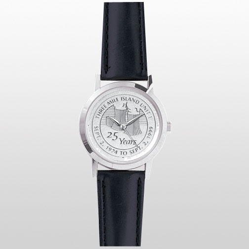 Silver Watch with Etched Medallion Face & Black Padded Leather Band