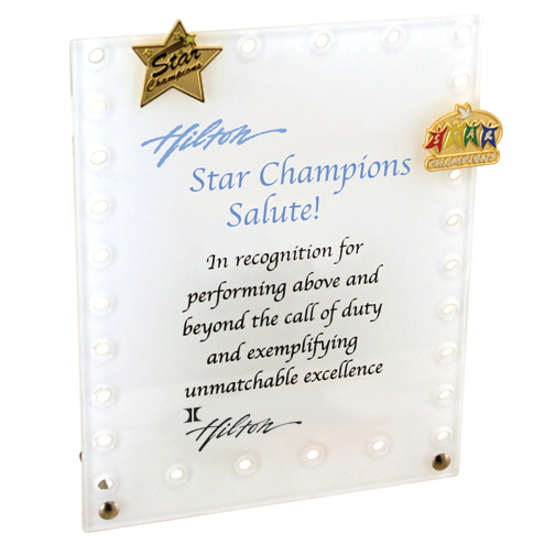 "Award Desk Plaque - Stock sizes include 4""x6"" and 5""x7"""