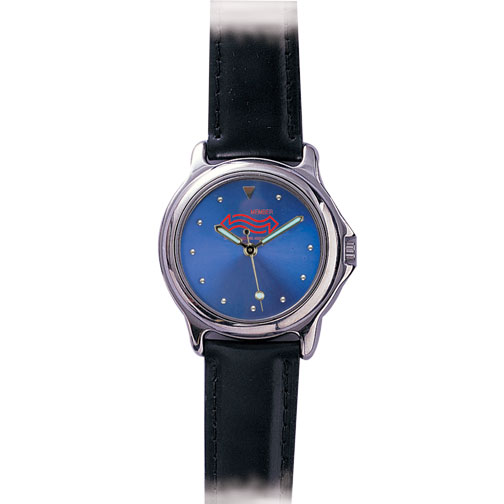 Silver Bezel with Black Padded Leather Band