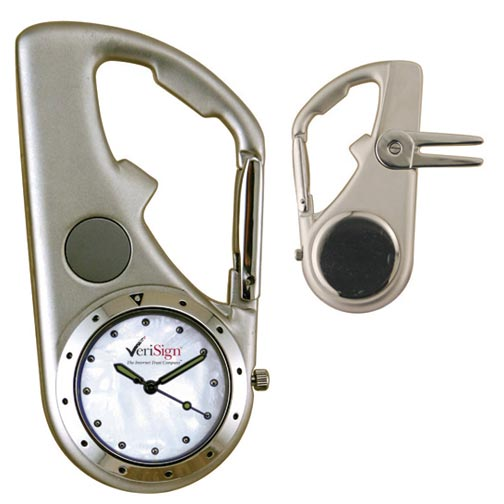 Carabiner Clip watch with bottle opener and divot tool