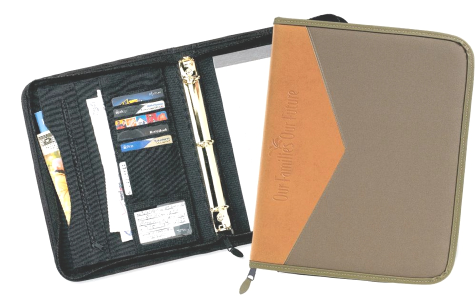 "Soho 2-Tone 1"" Zipper Ring Binder - Made in USA Union Bug Available"