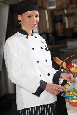 CLASSIC 10 BLACK BUTTON CHEF COAT WITH BLACK TRIM - CLASSIC 10 BLACK BUTTON CHEF COAT WITH BLACK TRIM