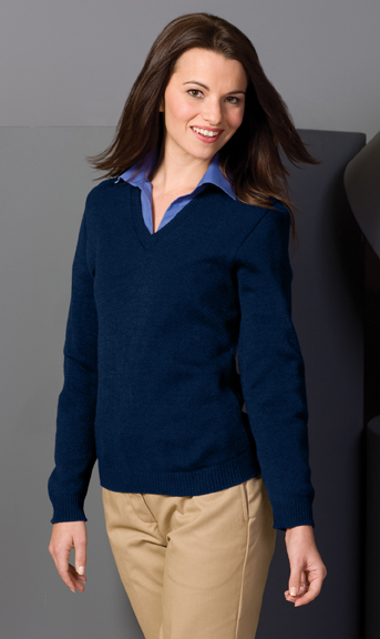 WOMEN'S V-NECK SWEATER WITH TUFF-PIL® PLUS - WOMEN'S V-NECK SWEATER WITH TUFF-PIL® PLUS