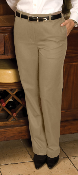 WOMEN'S BLENDED CHINO FLAT FRONT PANT - WOMEN'S BLENDED CHINO FLAT FRONT PANT