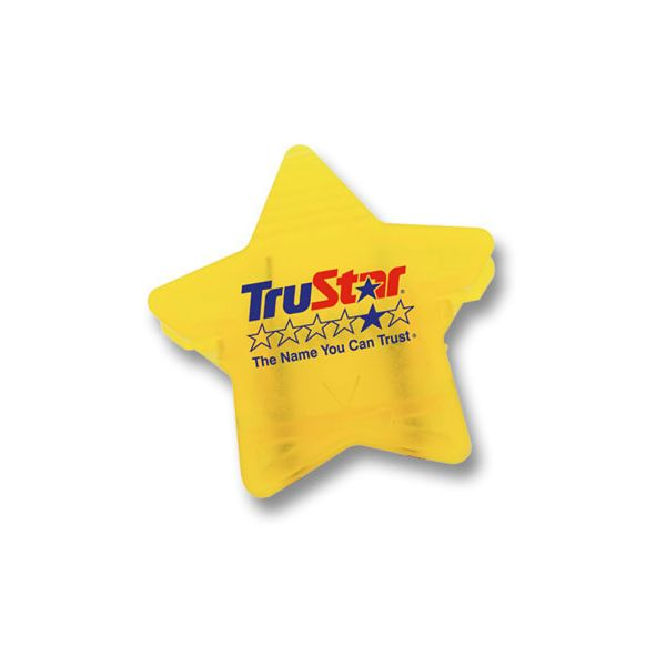 Star Cubicle Clip - Star-shaped cubicle clip attaches to fabric office dividers or corkboards with durable steel pins, to hold many times its own weight