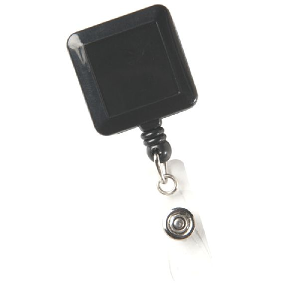 "Square Secure-A-Badge™ - Lightweight, square design features 30"" sturdy nylon retracting cord, strong snap lock and slide clip"