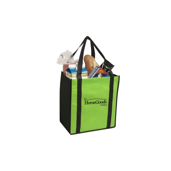 Non-Woven Two-Tone Grocery Tote - Constructed of 80 gsm non-woven polypropylene with removablematching board bottom insert