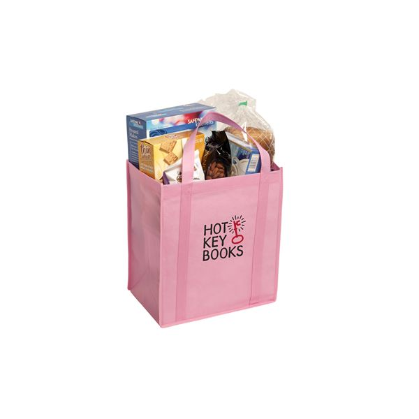 """Non-Woven Grocery Tote - Constructed of 80 gsm non-woven polypropylene with reinforced 22""""handles, removable matching board bottom insert, and an 8"""" gusset forincreased storage capacity"""