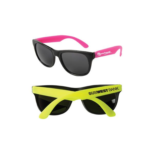 Neon Sunglasses - Fun-in-the-sun style floats in water and features brightly colored neon or black temples and dark, ultraviolet-protective lenses