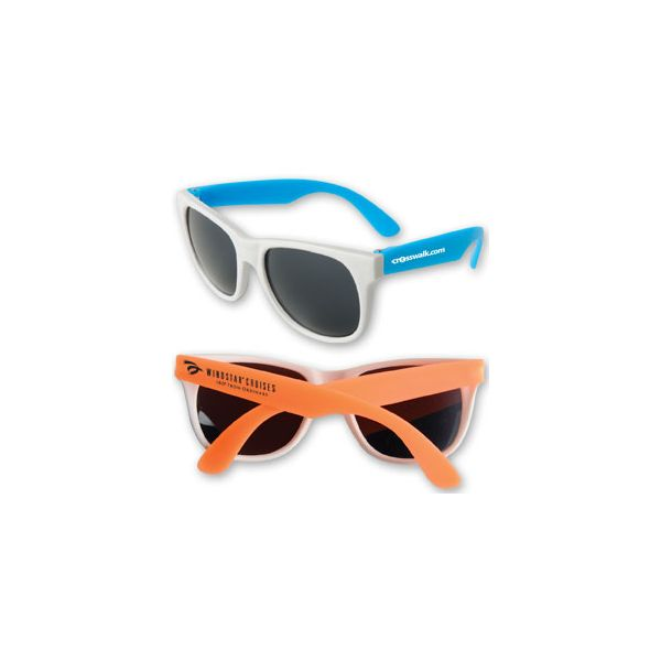 Neon Sunglasses - White Frame - Fun-in-the-sun style floats in water and features brightly colored neon or white temples and dark, ultraviolet protective lenses