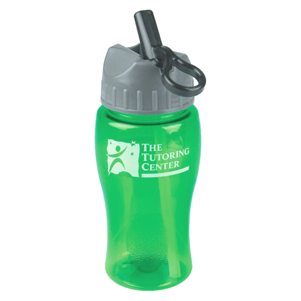 18 Oz Transparent Poly-pure Bottle W/ Flip Straw Lid