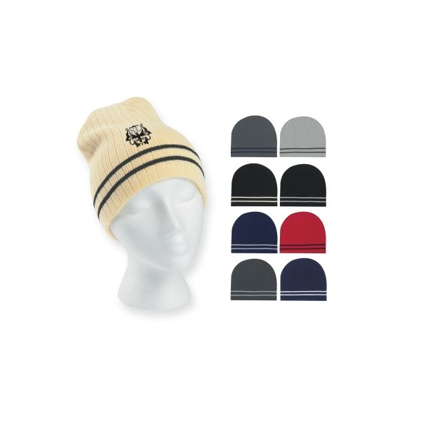 Ribbed Knit Beanie With Double Stripe (Embroidered)
