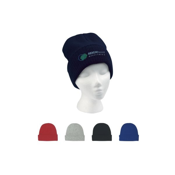 Knit Beanie With Cuff (Embroidered)