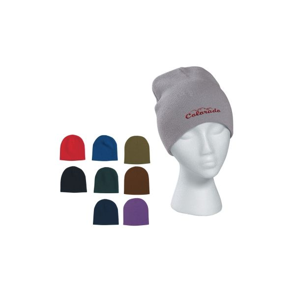 Knit Beanie Cap (Embroidered)