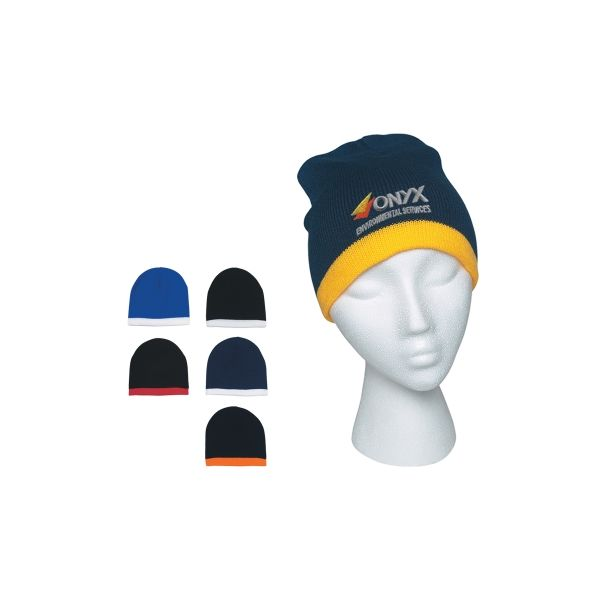 Knit Beanie With Stripe (Embroidered)