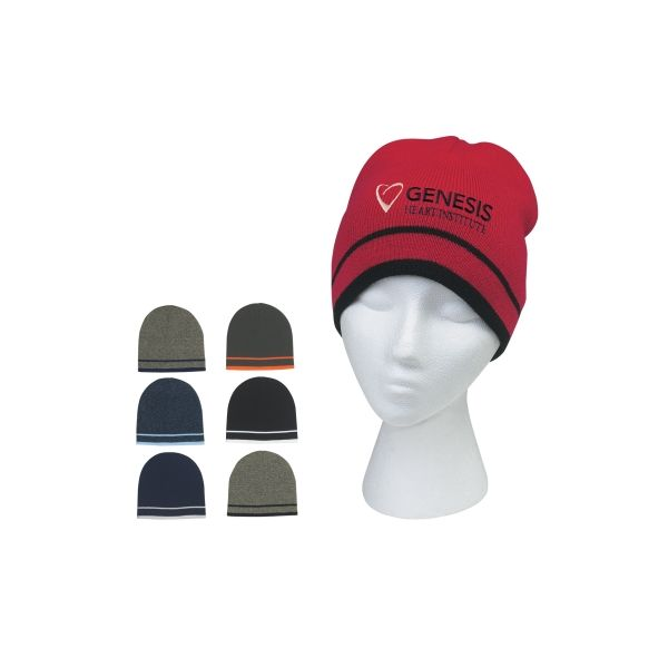 Knit Beanie With Double Stripe (Embroidered)